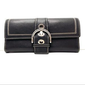 COACH Black Leather Buckle Wallet